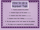 Steps for How to do a Number Talk