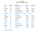 Middle School Girl's Basketball Schedule