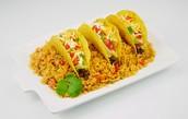 Los tacos con arroz ( doscientos cuarenta y cinco pesos )245