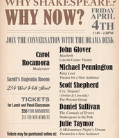 "Drama Desk's ""Why Shakespeare? Why Now?"" at Sardi's, Friday, April 4"