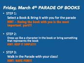 Viernes, 4 de marzo, ¡¡Desfile de los Libros!!