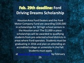 Ford Scholarship February 29th
