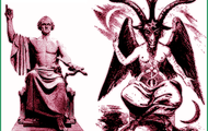 Pictures of Satan and  statue that resembles Satan