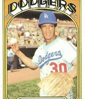 Picture of Maury Wills playing for the Dodgers
