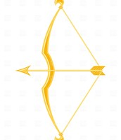 Gold bow and arrow