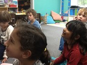 Listeing closely to a special read aloud.  Hint: About a hamster.