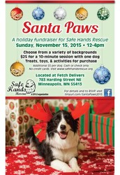 Safe Hands Rescue is very excited to announce the second annual Santa Paws!
