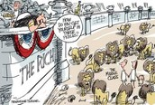 Political cartoon showing the seperation of class.