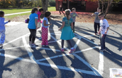 Recess games and playground stencil work