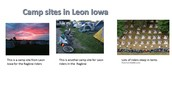 Camp sites in Leon, Iowa