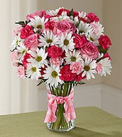 Pink Rose and White Daisy Arrangement