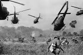 Helicopters flying in, in the middle of the war
