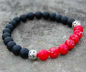 The Red & Black Agate Stone Bracelet
