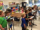 1st graders singing in music class