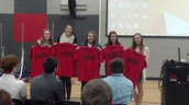 "Students receiving their ""Licensed"" shirts."