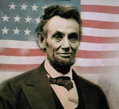 Abarham Lincon behind American Flag