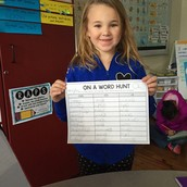 Haylee doing a Word Hunt during Word Work