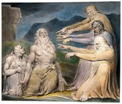 Eliphaz, Bildad, and Zophar trying to persuade Job