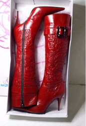 Lava red Giuliano Venanzi boots, Real leather,size 37 EU.
