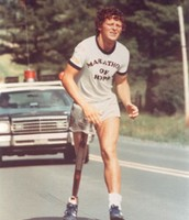 Terry Fox on the road during his Marathon of Hope