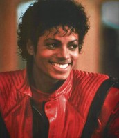 "On the set of doing the music video ""Thriller"""