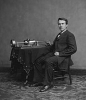 Thomas Edison with the Phonograph