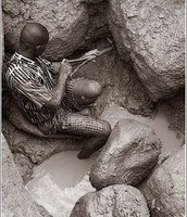 Kids digging and looking for presious minerals