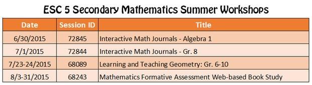 Region 5 ESC Secondary Mathematics