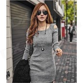 Fashion Sexy Hollow Shoulder Cotton Dress - Grey