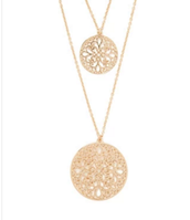 Hammered Circle Layered Necklace