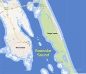 Ariel view of Roanoke sound.