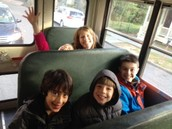 All buckled and on our way to the Planetarium!!
