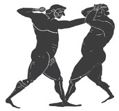 - Above is a picture of two men boxing -