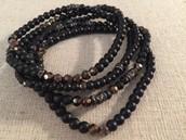 Multi Strand Stretch Bracelet - black