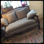 Antique Loveseat with Throw Pillows ~ $325