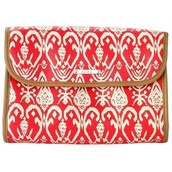 Hang On Travel Case-Red Ikat