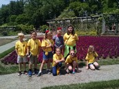 In the gardens with third and fourth graders