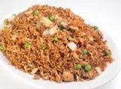 Brown rice with chicken and peas