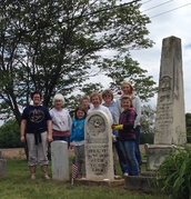 Ten O'clock Line Daughters with Cornelius King's headstone and marker