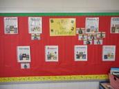 40 Book Challenge Display by Genre in Kristie McCray's fifth grade room