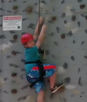 Gage is scaling the wall!!