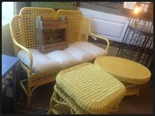 Yellow Wicker Couch ~ $325