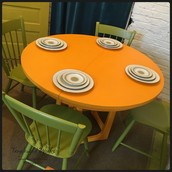 SOLD-Sunkist Orange Mid-Century Dining Table with 4 Avocado Chairs: $550