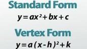 Vertex: y=(x-h)2 +k