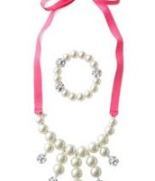 Olive Pearl Bib necklace and bracelet set $17