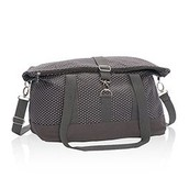 Fold Over Weekender in Charcoal Swiss Dot