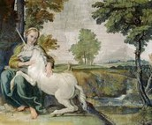 The gentle and pensive maiden has the power to tame the unicorn