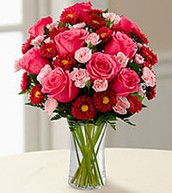 Pink Rose and Carnation Arrangement with Daisys