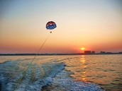 Para Sailing at sunset
