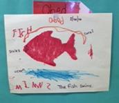 The fish swims.